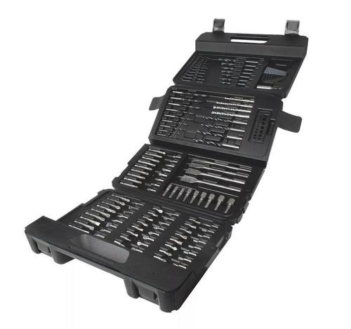 taladro percutor 3/8 + set accesorios 129 pzs black+decker