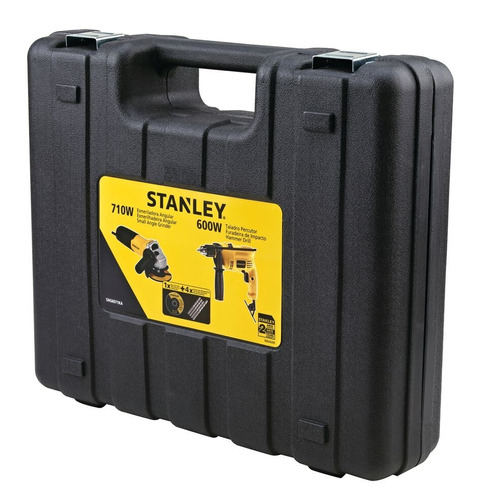 taladro percutor 600+amoladora 710w stanley+acc+male shg6070