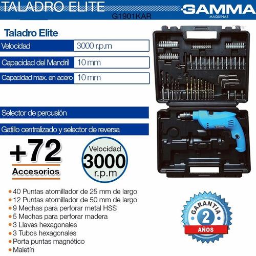 taladro percutor 650 w gamma maletin 10mm 74 accesorios gafa
