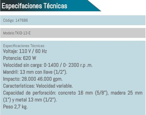 taladro percutor de impacto takima 13 mm (1/2) 620w hd