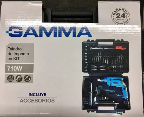 taladro percutor + maletin +57 acces gamma 710w 13mm