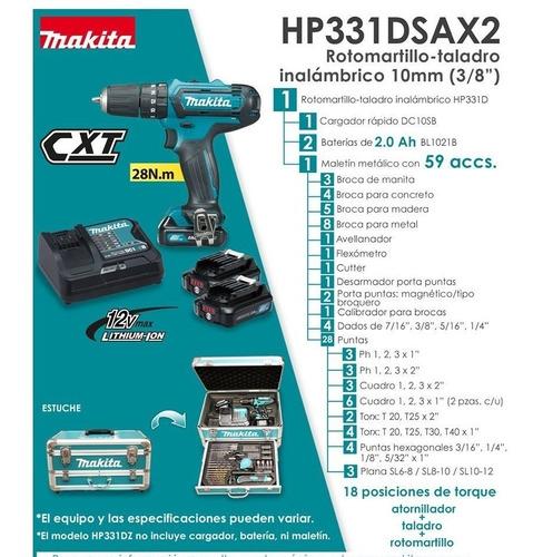 taladro-rotomartillo-destornillador c/ 59 pz hp331dsax2 maki