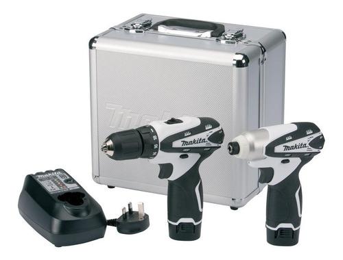 taladros atornilladores en kit makita 2 bat + carg + maletín