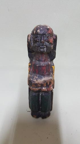 talla antigua quiteña de pastor en madera