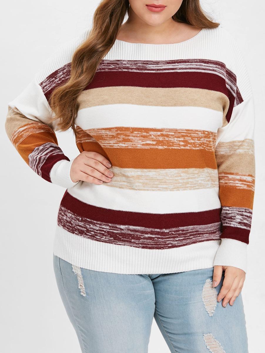 Talla Grande Color Bloque Cuello Redondo Suéter -   13.991 en ... 6339e3895fde0