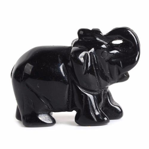 tallado natural obsidiana negro piedra preciosa elefante he