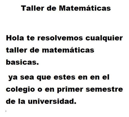 taller de  matemáticas