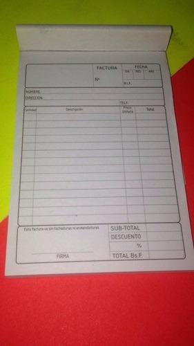 talonario de factura n° 1 peq70 hojas 15.8x11cm