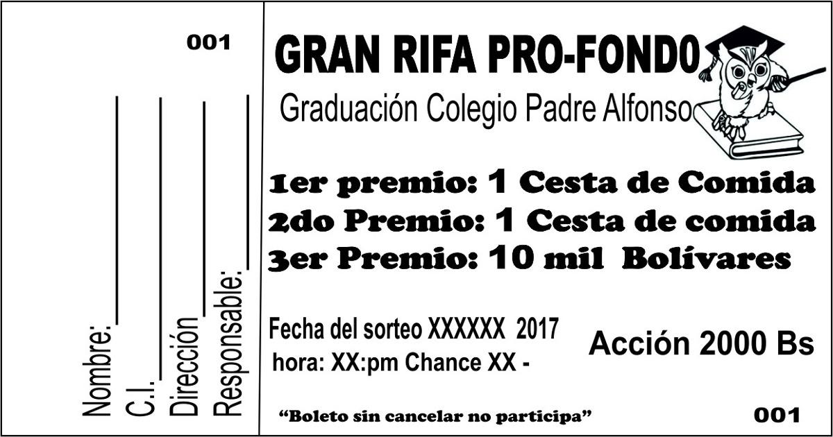 Talonario De Rifa 100 Numeros Bs 4800 En Mercado Libre
