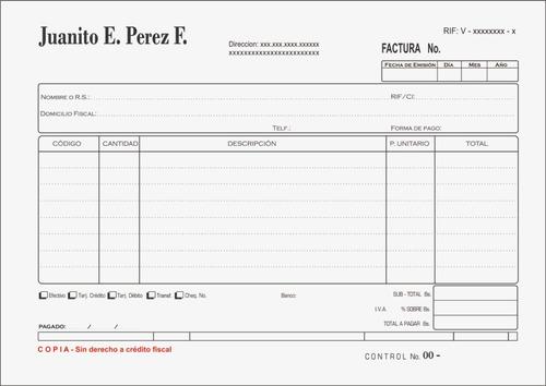 talonario factura fiscal 1/2carta seniat entrega rapida