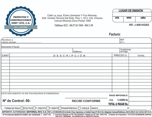 talonarios, block, de  facturas seniat express, urgente 24 h