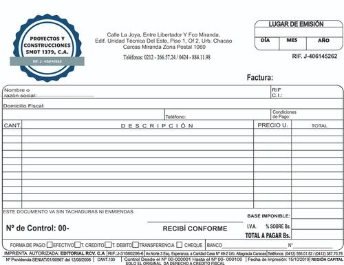 talonarios, block, de  facturas seniat express, urgente