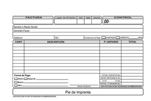 talonarios de facturas autorizados seniat papel bond quimico