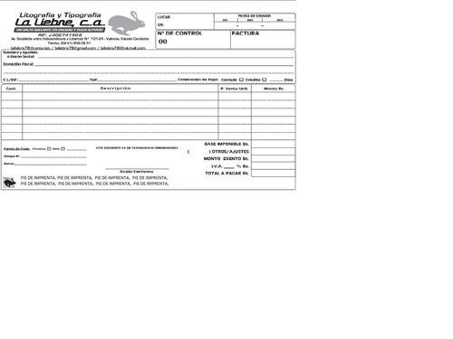 talonarios de facturas y otros  autorizados por el seniat