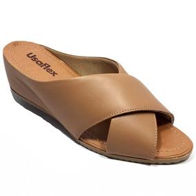 c378ea43f1 Sapato Anabela Couro Conforto Usaflex - Sapatos no Mercado Livre Brasil