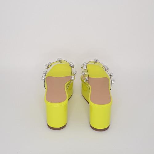 tamanco feminino flatform vinil neon com apliques de pedras