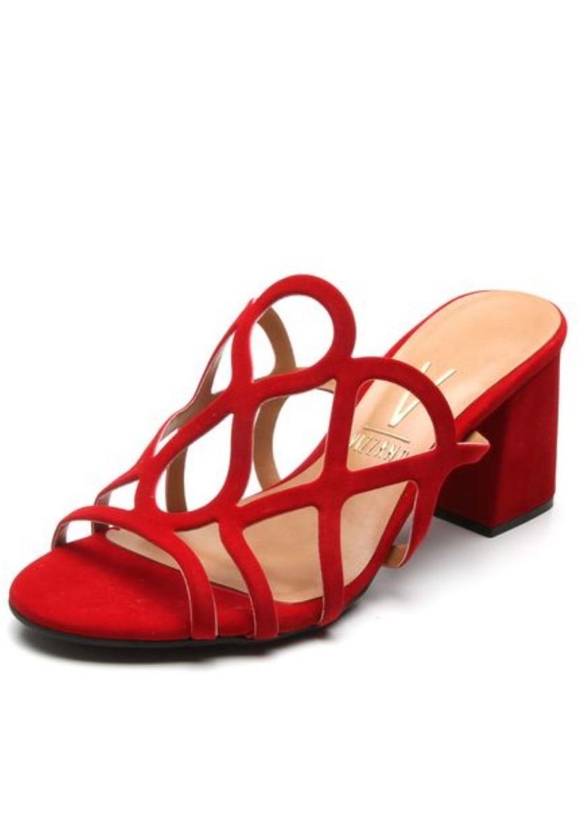 77ff72866 tamanco sandália salto grosso vermelho vizzano 6364108. Carregando zoom.