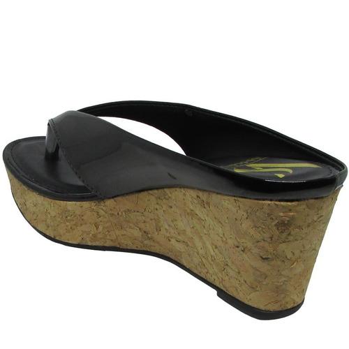 tamanco via scarpa verniz cortiça anabela feminino