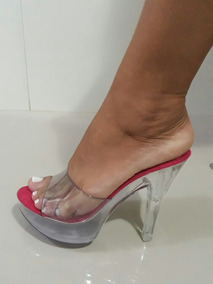 8fa019bfd5 Sandalia Cristal Tamanco Acrilico Salto Transparente - Calçados ...