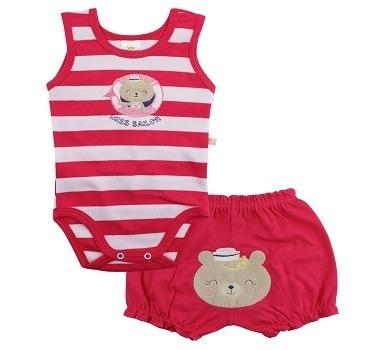 tamanho g - conjunto infantil body regata miss sailor shorts