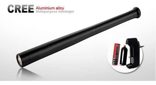 tambo linterna  aluminio cree baston tactico recargable 44cm