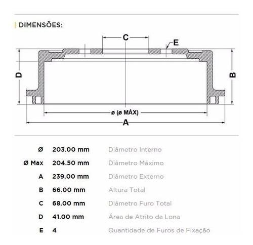 tambor de freio traseiro nissan livina 1.6 16v marca fremax