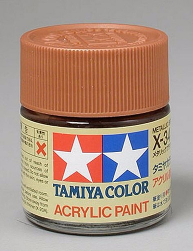 tamiya 81034 pintura acrylic x-34 metallic brown 3/4 23ml p1