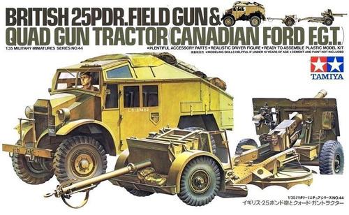 tamiya - british 25pdr. field gun & quad gun tractor 1/35
