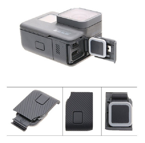 tampa cover lateral entrada cabo usb gopro hero 5 black