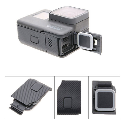 tampa cover lateral entrada cabo usb gopro hero 6 black