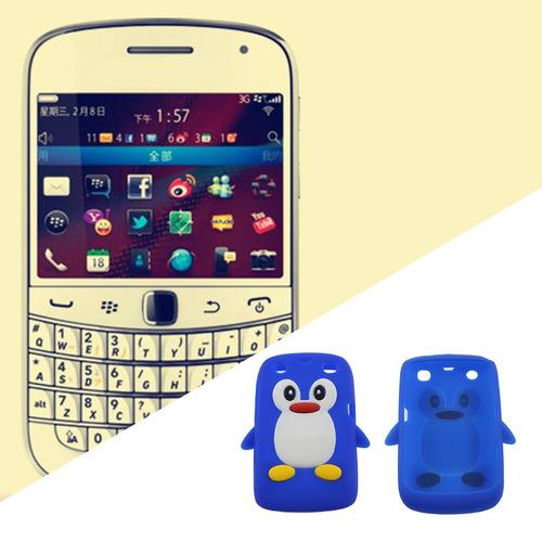 tampa da caixa do silicone forma pinguim 3d para blackberry