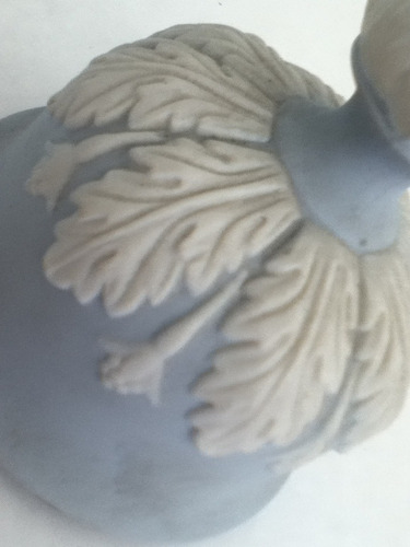 tampa de potiche biscuit azul e branco12cmx10