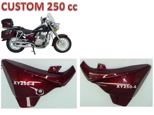 tampa lateral vermelha par custom 250 shineray