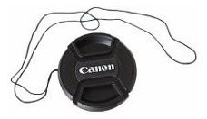 tampa lente 18-55 canon 58mm t3i t4i t5i lc-58 com a corda