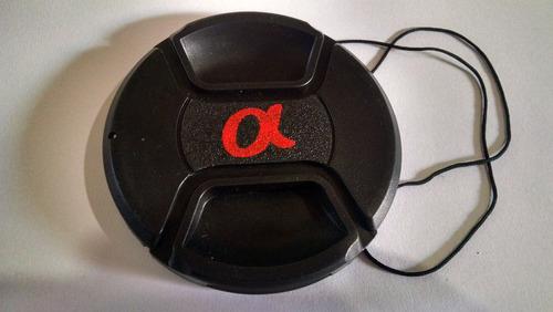 tampa tampinha frontal lente objetiva sony alpha 58mm logo