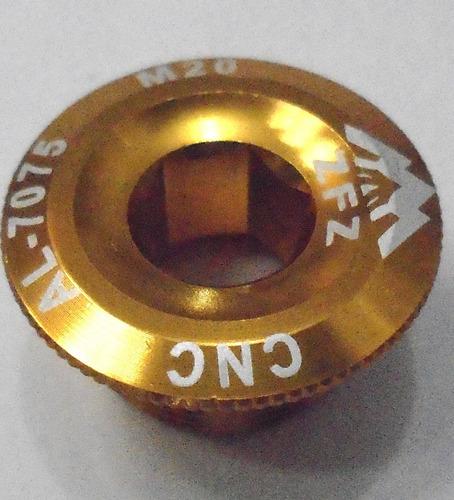 tampa tampinha pedivela hollowtech dourado cnc al-7075 m20