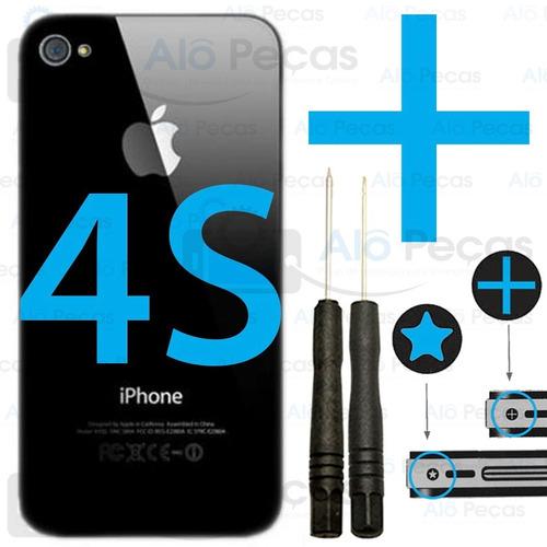 tampa traseira apple iphone 4s vidro fundo + ferramentas