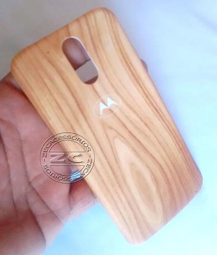 tampa traseira desenho madeira moto g4 play + capa case tpu