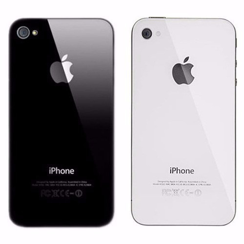 tampa traseira vidro fundo apple iphone 4 4g 4s branco preto
