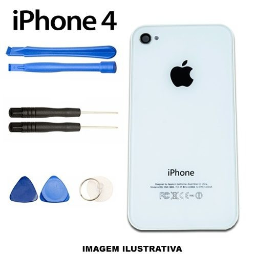 tampa vidro traseira iphone 4 branco + kit 7 ferramentas