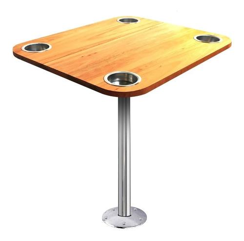 tampo mesa madeira náutica com porta copos