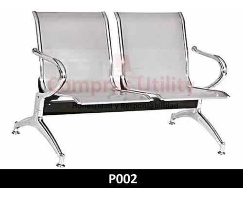 tandem 2 puestos gris silla sala espera metalica altotrafico