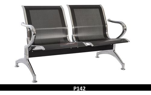 tandem 2 puestos negro silla sala espera metalica garantia