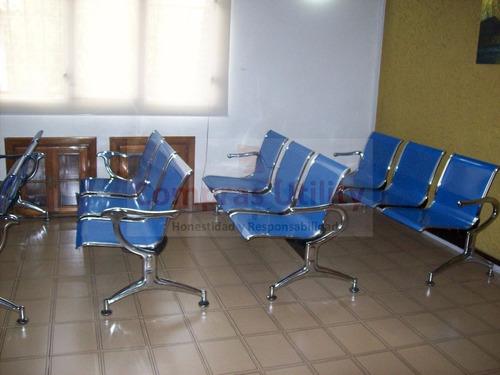 tandem 3 puestos azul silla sala espera metalica cromada 1a