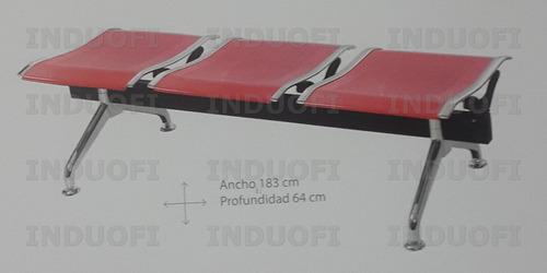 tandem butaco 3 puestos rojo y cromado acero alto trafico 1a