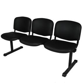 Sillas Para Sala De Espera Precios.Tandem De 3 Sillas Iso Salas Espera Cuero Sintetico Negro