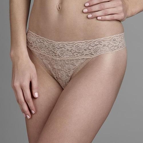 tanga marca metaphor  modelo floral lace - beige t - l