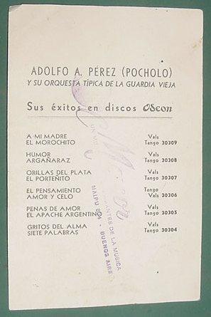 tango - tarjeta promocion adolfo perez pocholo guardia vieja