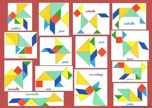 tangrama juego madera didactico niñas niños  / barbazar