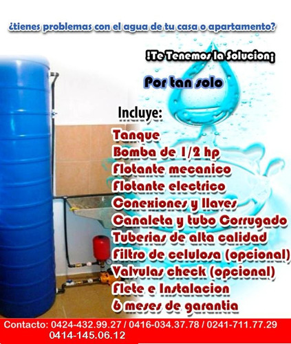 tanque de agua para apartamentos+bomba+hidroneumatico+pulmon